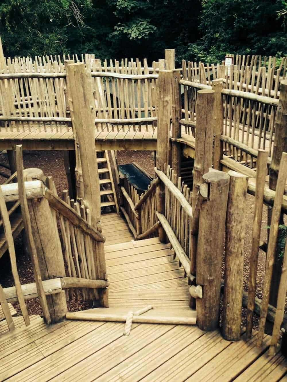 View across the towers of adventure at Cotswold Wildlife Park