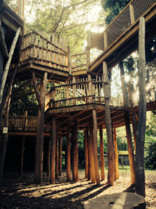Cotswold Wildlife Park Adventure play uses rustic poles and natural materials throughout