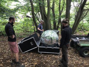 The giant glitter ball arrives