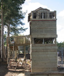 One of the adventure play towers that dominate the skyline at Bawdeswell Garden Centre