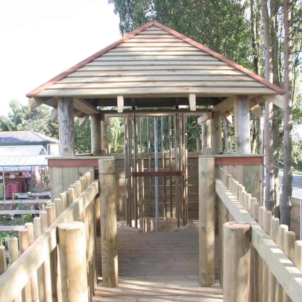 View across the bridge that joins the two areas of adventure play