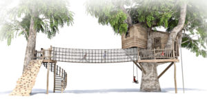Side view of the complete treehouse and adventure play