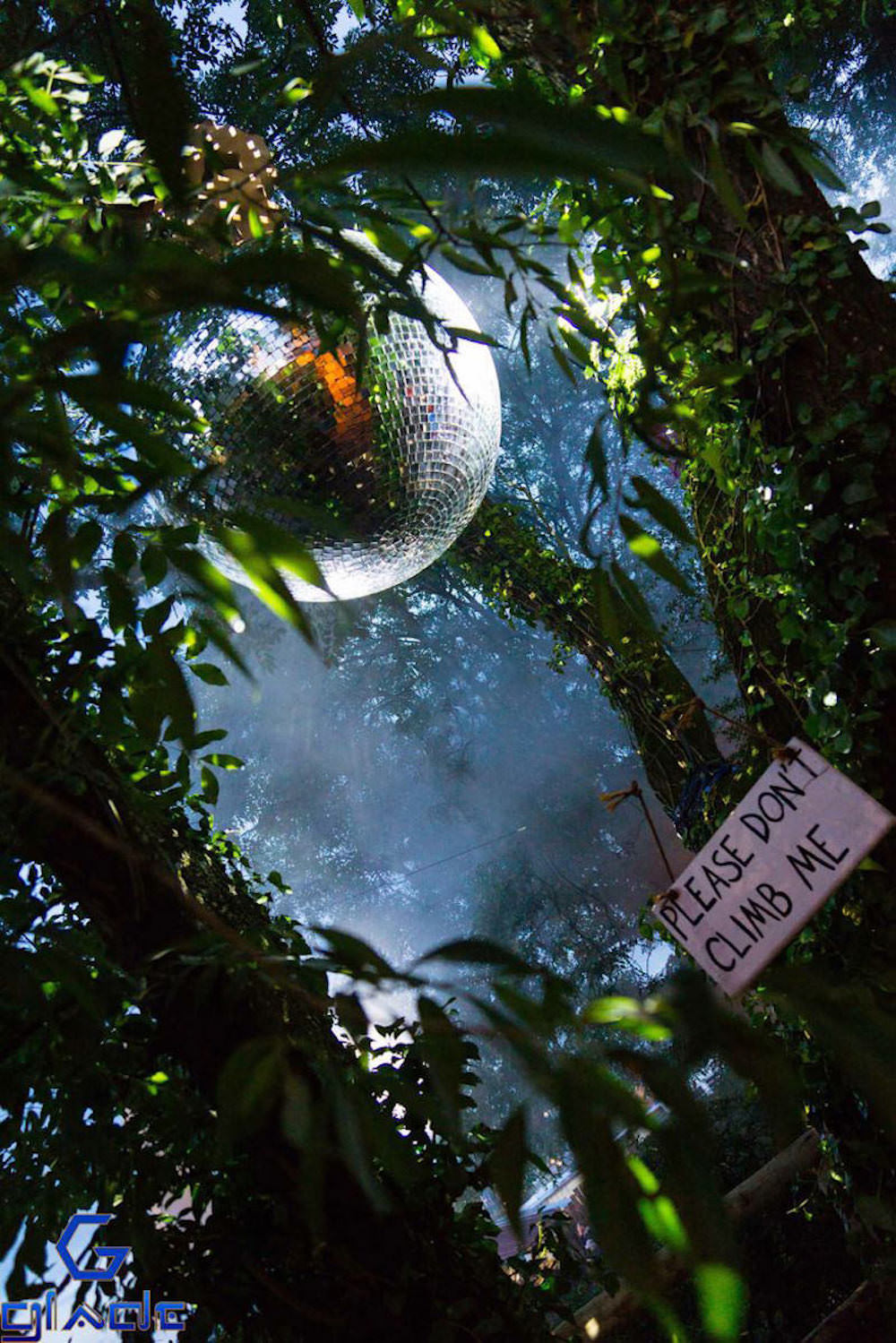 The spike stage glitter ball at Glastonbury Festival