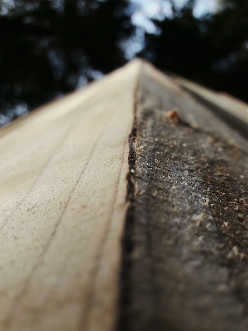 Close up of roofline showing the natural materials