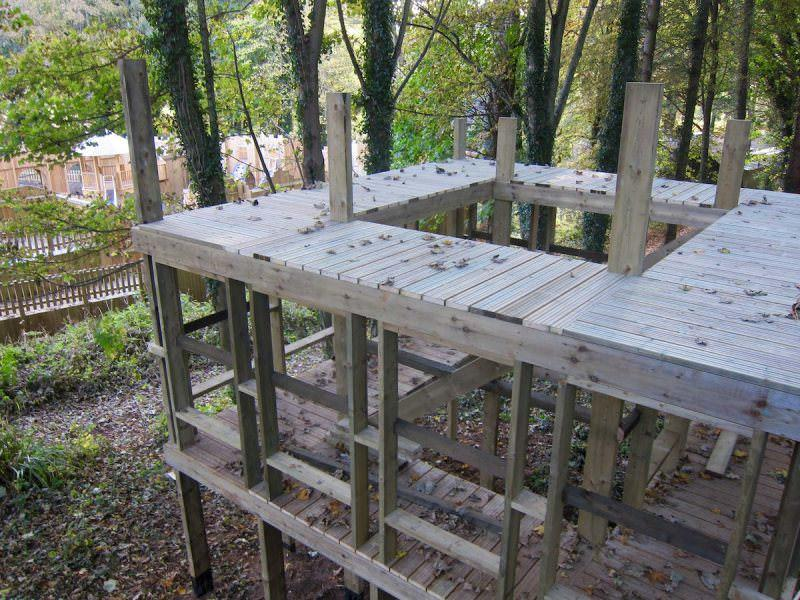 The height of the play structure at the Wild Woodland looking down at the Adventure Cove