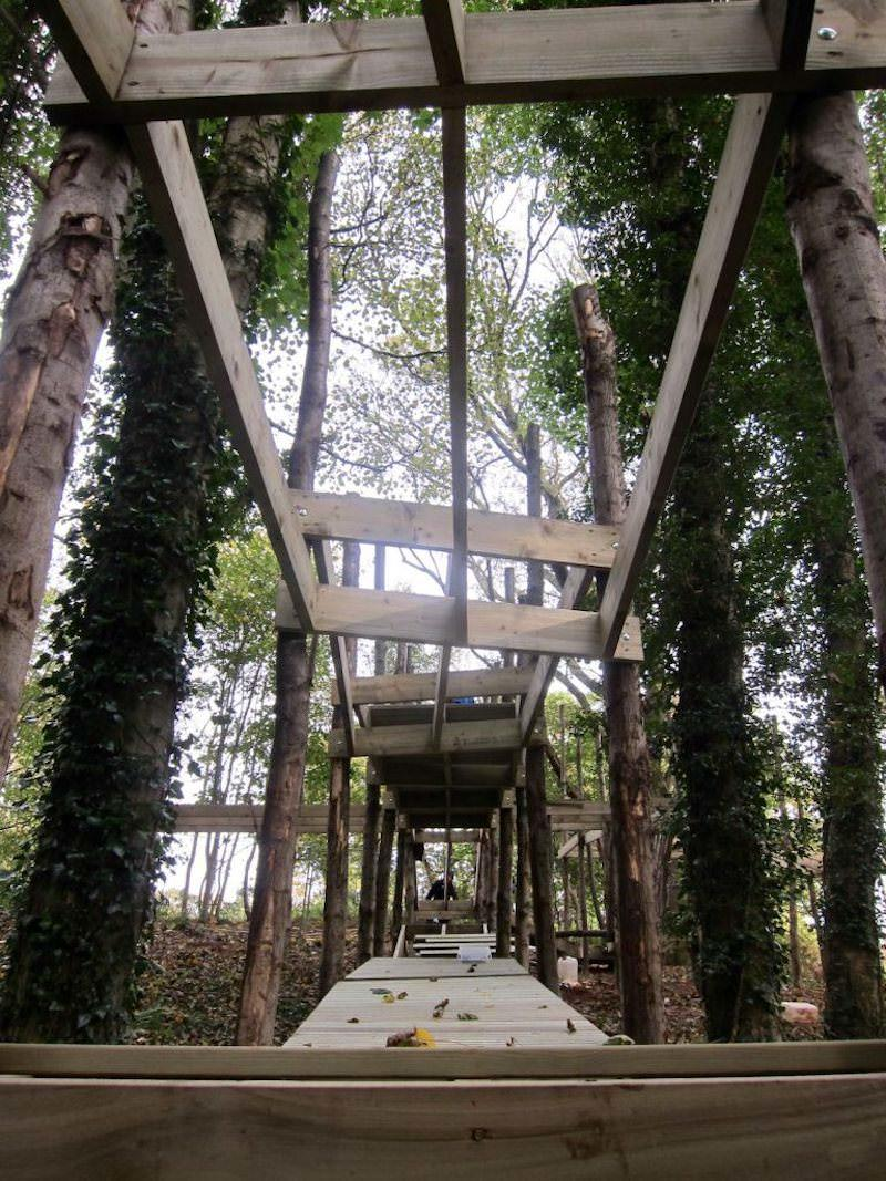 View along one of the part completed play structures at Culzean castle Wild Woodland