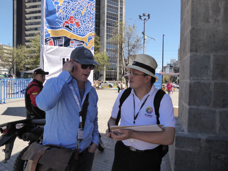 Being interviewed to give feedback, on Quito and our experience of Ecuador – I was extremely complimentary! …….