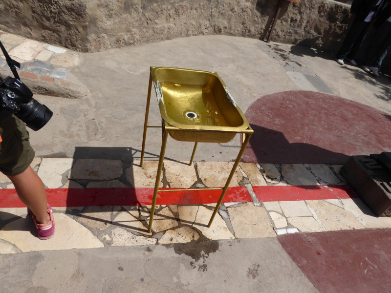 This is the Equator in Ecuador and we can demonstrate crossing it – with a sink