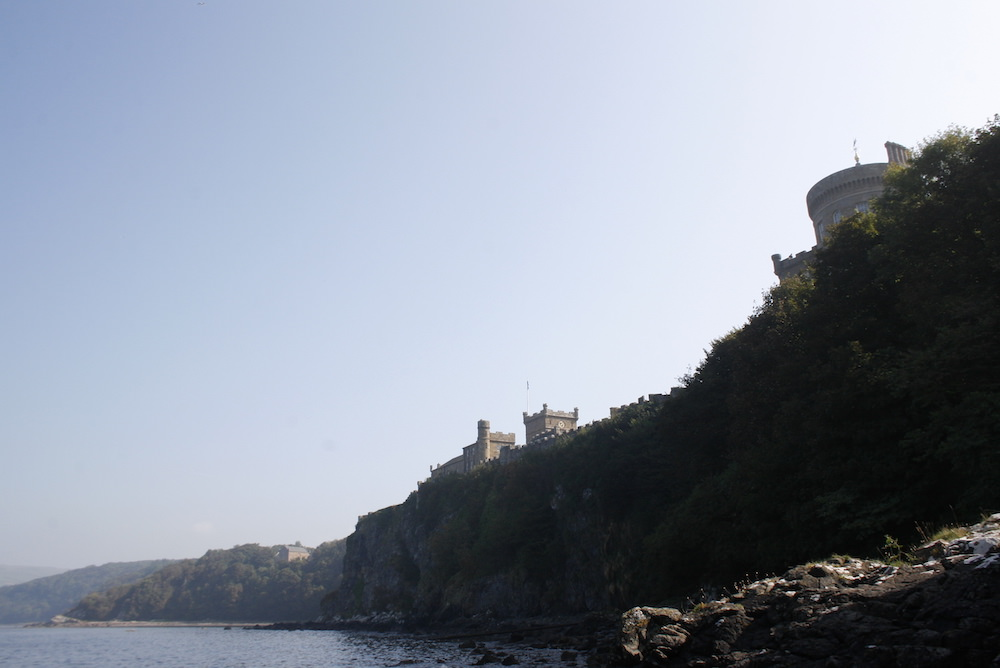 The view up to Culzean castle from the beach