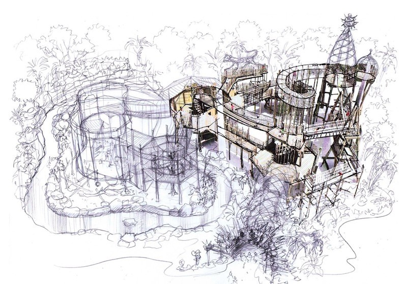 Initial rough sketch for the adventure play at Cotswold Wildlife Park