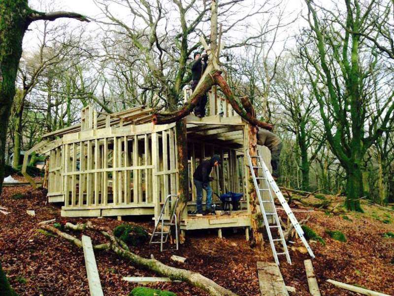The first treehouse begins to take shape at Slieve Gullion
