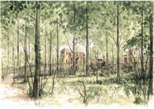 The sketch of the adventure play in the Lowther Castle grounds