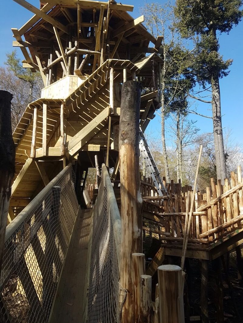 Squirrel Tower is taking shape with its wrap around walk ways