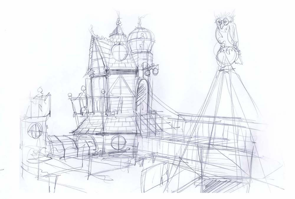 Initial rough drawings after initial site visit to show exterior roughs
