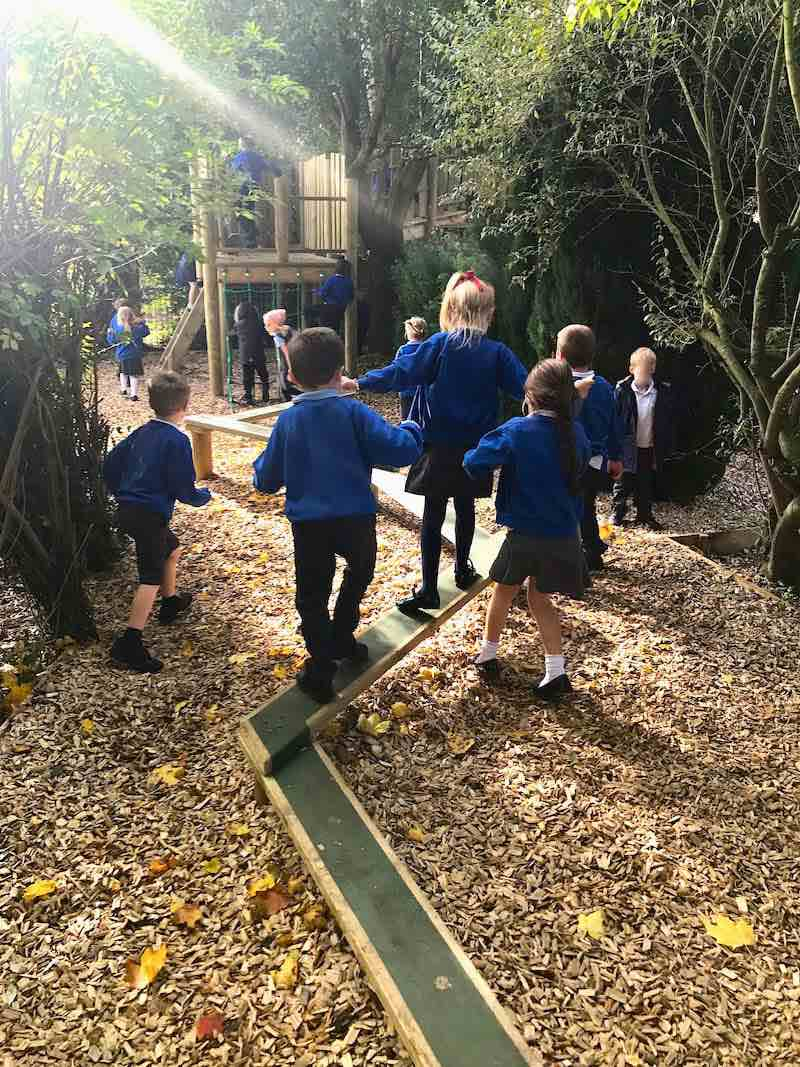 Balance beams through the woodland at Poringland school Outdoor Adventure Play