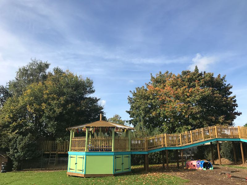 Wider view across the interlinked play area at Poringland School