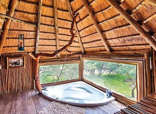 Bathtub with a view in treehouse accommodation