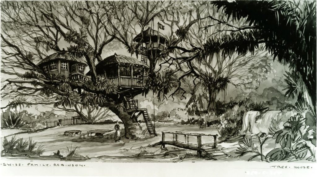 the original drawing of the Swiss family Robinson Treehose Accommodation