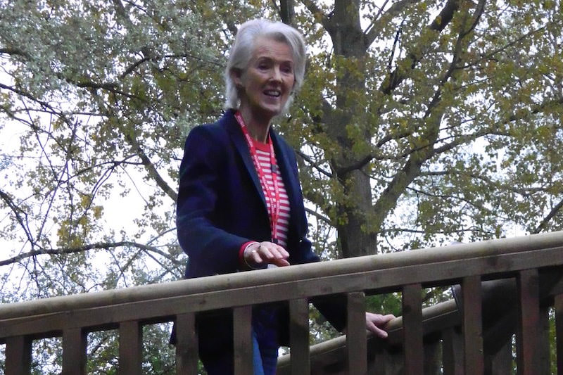 Joanna Trollope walking along the new adventure Play at the Mulberry Bush School 800x533