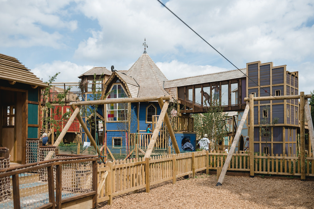 View across the play area at Weehailes adventure play by CAP.Co at Newhailes