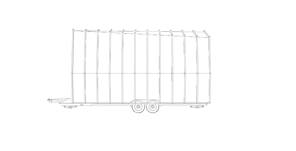 Side view sketch of Tiny House on its trailer