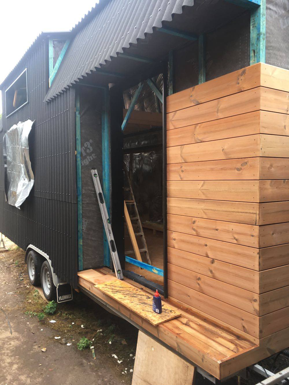 View through the front door of the tiny house