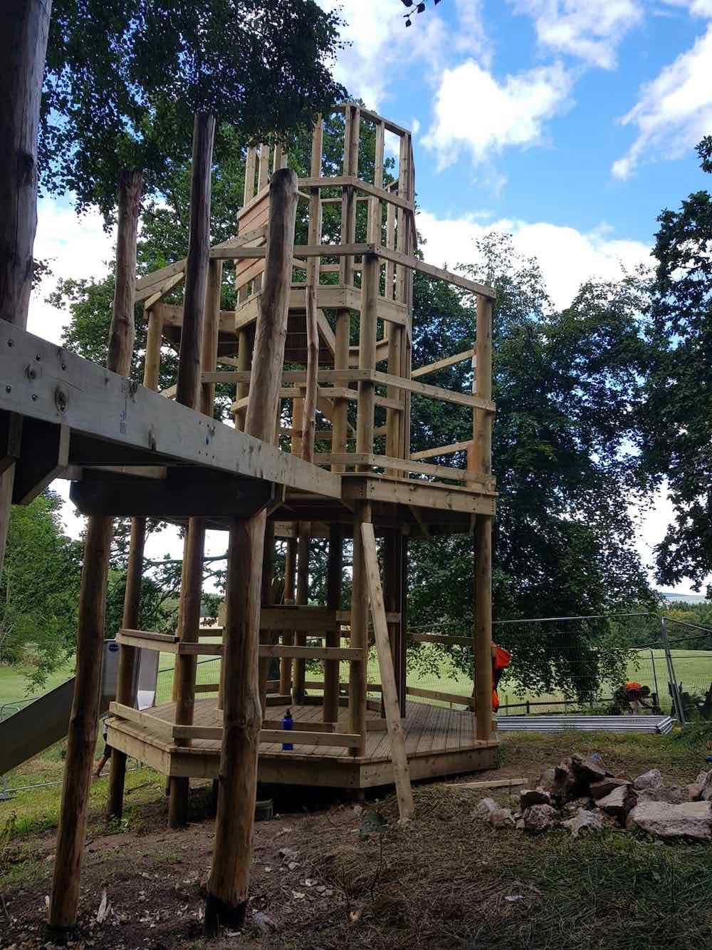 The framework for the Green Lady's Tower is complete