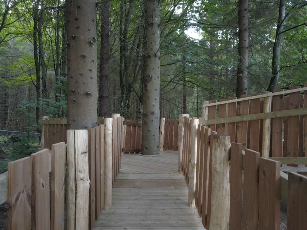 One of the high walkways completed