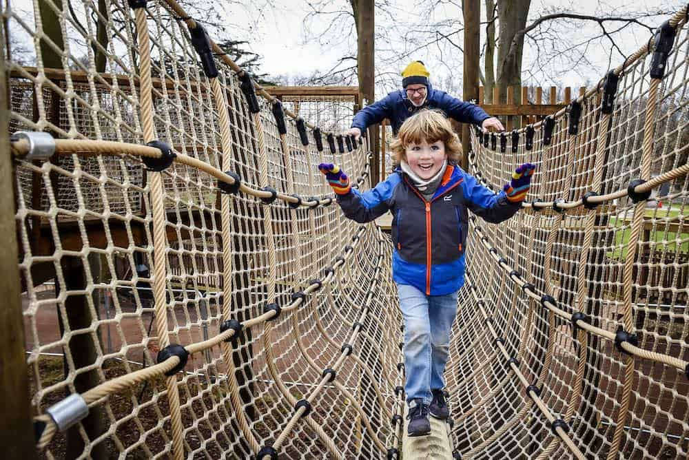 Clamber across the nets at the new adventure play at Fort Douglas Dalkeith Country Park by CAP.Co