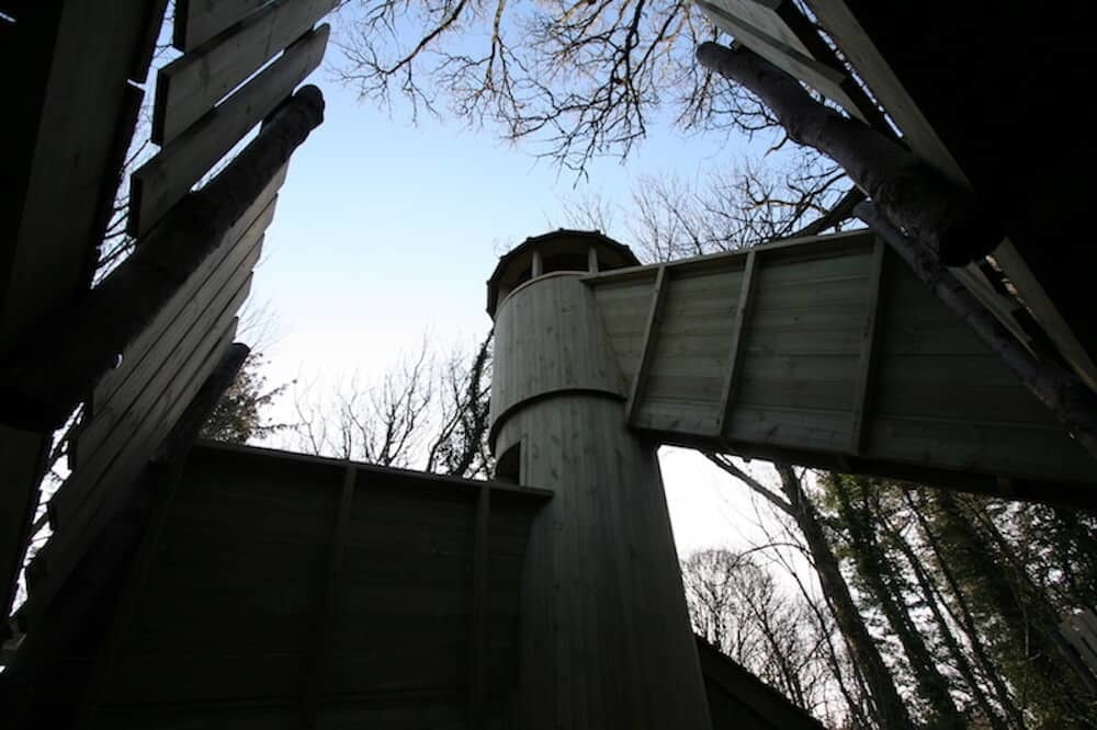 The back of the Ice House Tower with tiny walkway to reach the top