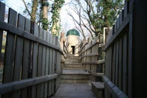 A walkway up to the Roundabout House