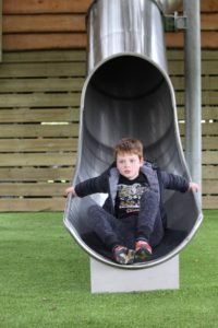 The children discover the slides dotted throughout Little Beaulieu