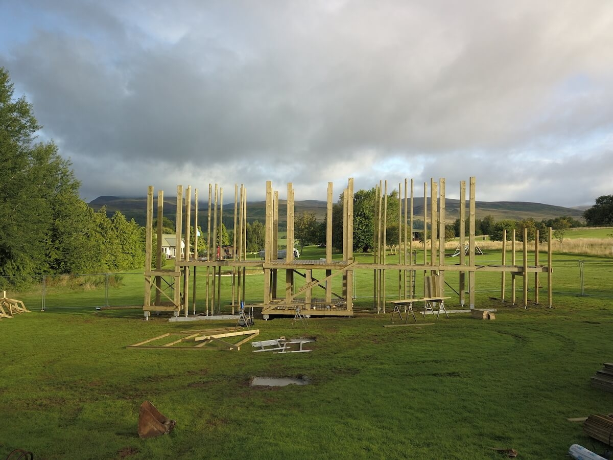 The frame is erected at Crieff Hydro new adventure play
