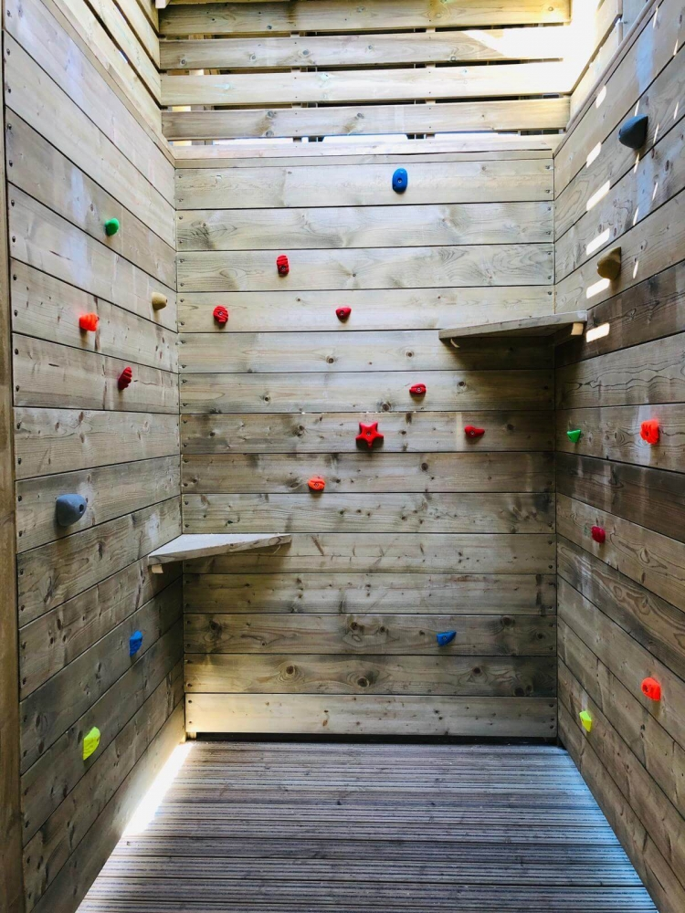 Another internal climbing wall in the adventure play at Crieff Hydro