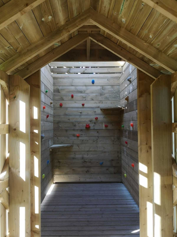 Internal climbing walls as part of the adventure play