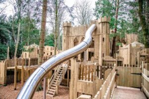 The 14m slide is part of the extension to Lowther Castle