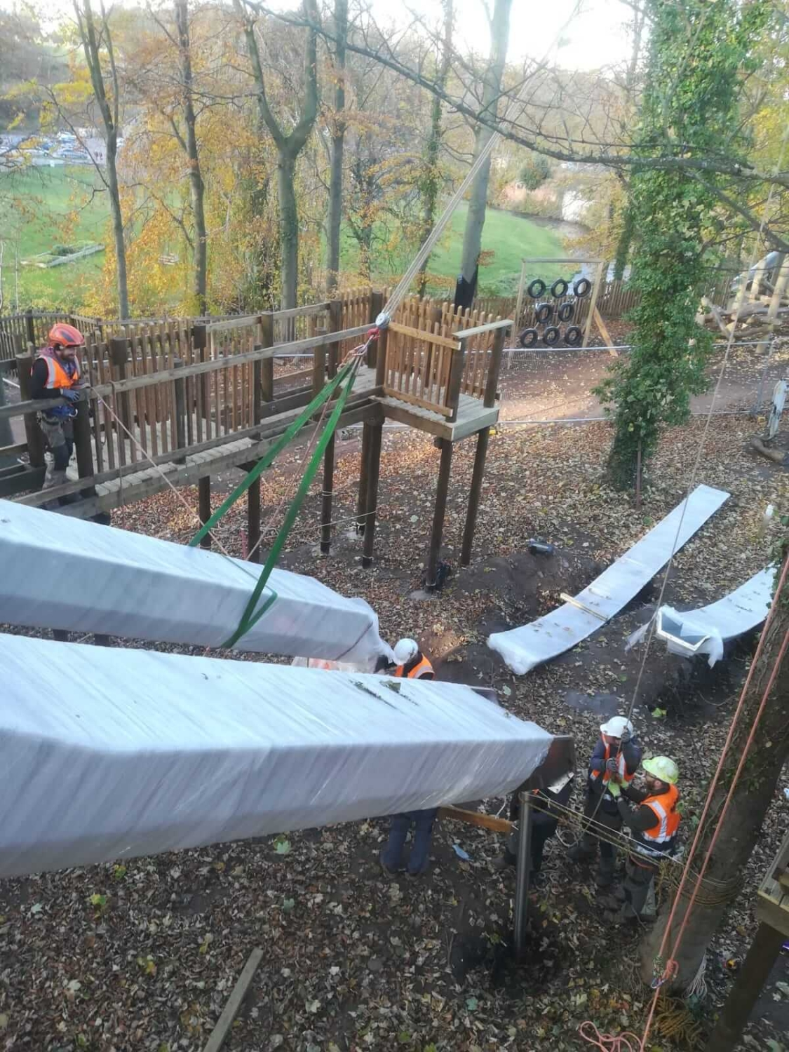 The slide is being installed at Dalkeith Country park