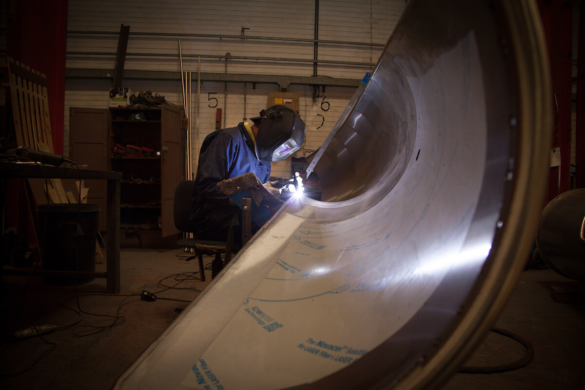 Welding sections together to form the slide