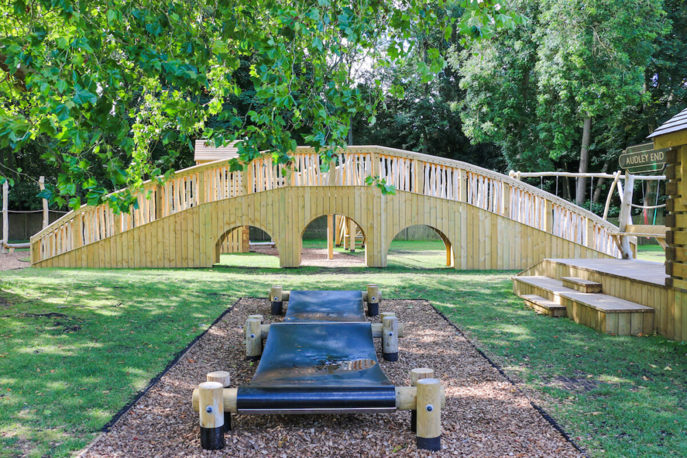 Bouncing walkway leading to the bridge at Audley End Miniature Railway