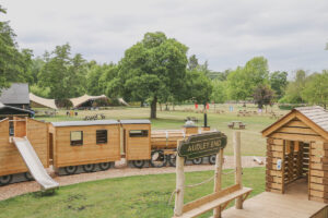 Summer view across the adventure play at Audley End Miniature Railway