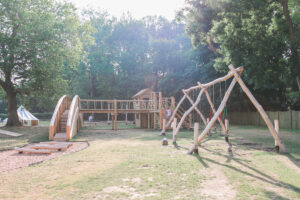 Swing set and the bridge at Audley End Miniature Railway