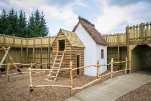 Little thatched cottage inside the Norman Stronghold at Knights Stronghold at Leeds Castle Open by CAP.Co Adventure Play