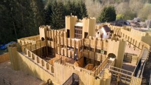 Rear view of Knights Stronghold at Leeds Castle Open by CAP.Co Adventure Play