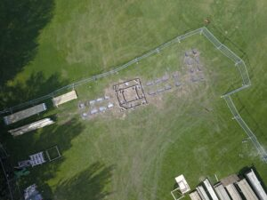 2 Crieff Hydro Adventure play in build aerial shot - laying out the site with concrete pads to fix to