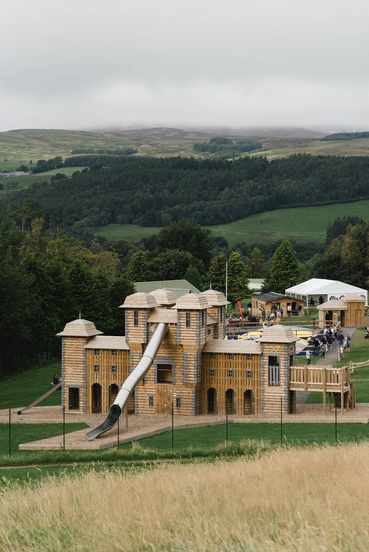 25 Looking down the hill towards the huge adventure play area at Crieff Hydro designed and built by CAP.Co