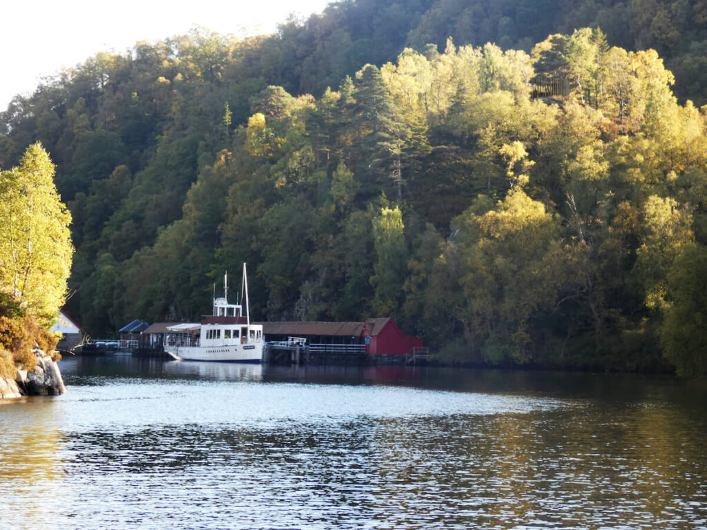 The view back to the SS Sir Walter Scott on Loch Katrine
