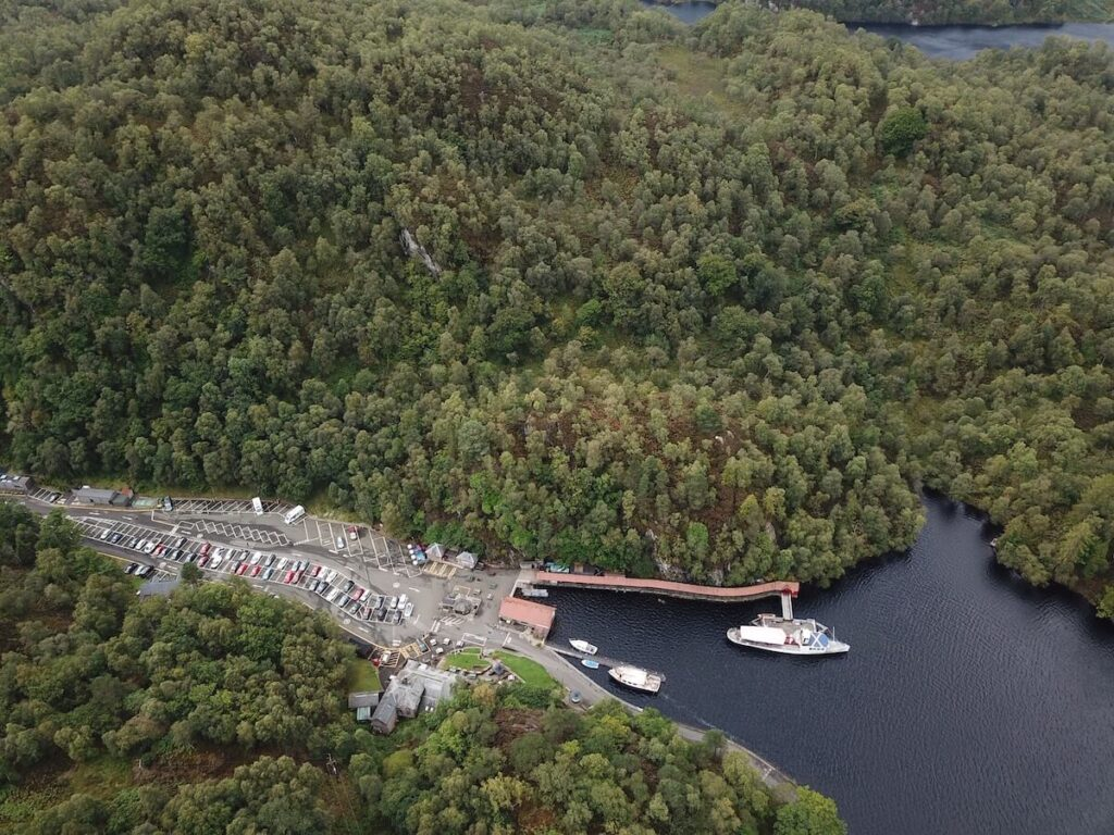 The view down the Loch Katrine and the site for Roderick Dhu's Watchtower