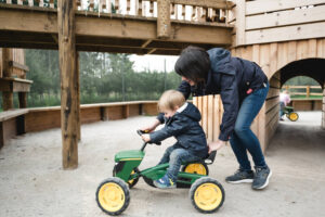 racing tractors at Dalkeith Toddler Play