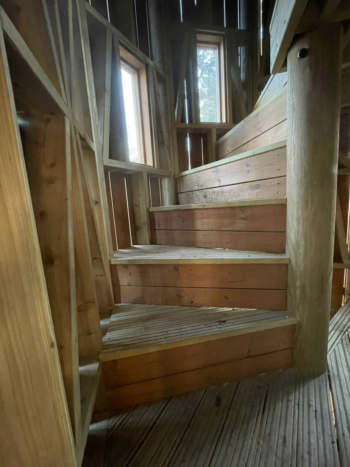 The new adventure play area at Sandringham by CAP.Co stairway to the top of the tower