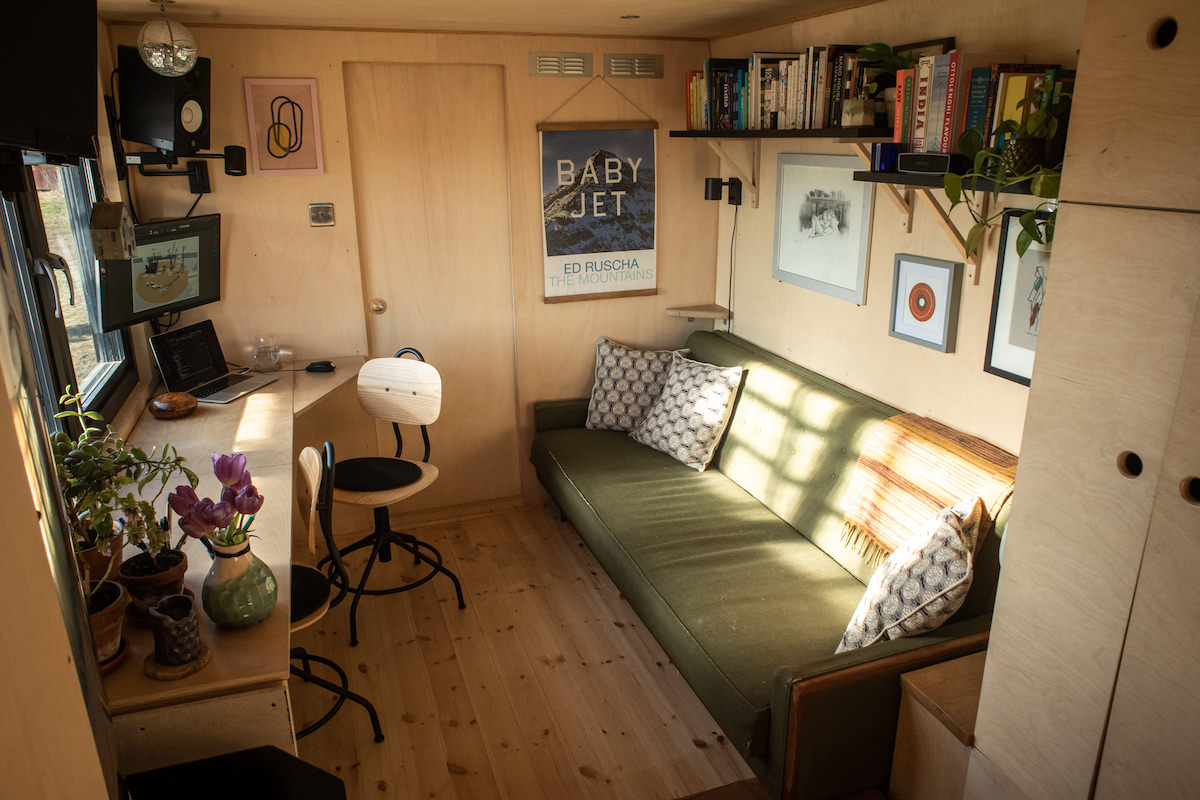 The warm and cosy interior of the tiny house